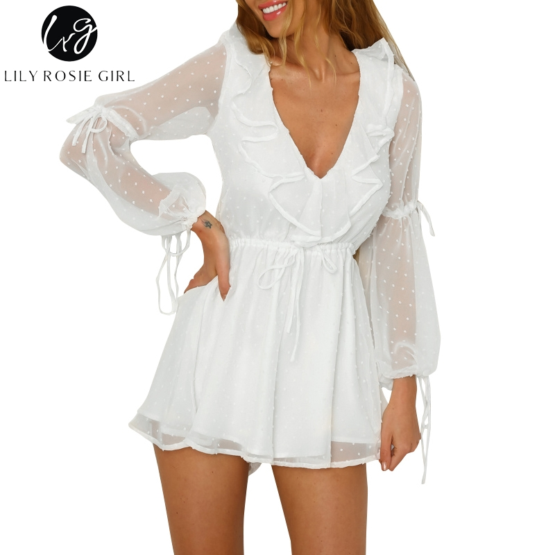Lily Rosie Girl Casual Beach Boho Party Playsuit Sexy White Long Sleeve Playsuit Ruffles Short   Jumpsuit   Rompers