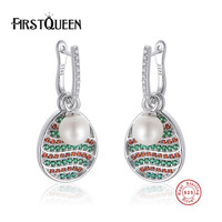 FirstQueen 925 Sterling Silver Elegant Pearl Earrings Push Back Women Zirconia Earrings Jewelry Party Gifts