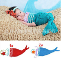 Children Outfits Newborn Baby Crochet Wool Headbands & Mermaid Sleeping Bag Infants Three-piece Suits Photography Props