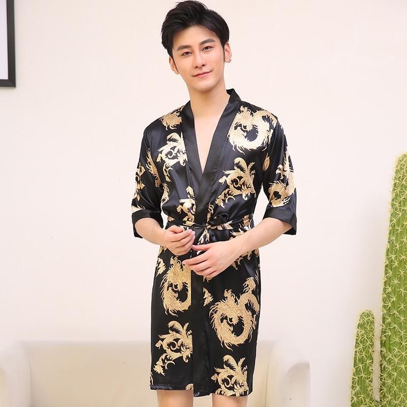 Chinese Vintage Men's Robe Casual Sleepwear Satin Rayon Nightwear Printed Dragon Bathrobe Kimono Gown Negligee Size L XL XXL