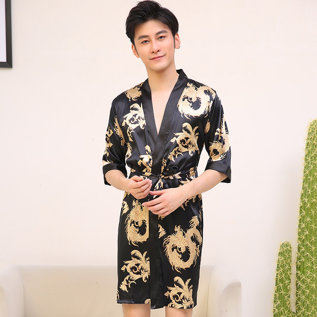 Chinese Vintage Men s Robe Casual Sleepwear Satin Rayon Nightwear Printed  Dragon Bathrobe Kimono Gown Negligee Size L XL XXL d688c8a1c