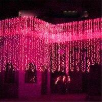 Фея 8x4 м светодио дный падения света строки Шторы лампы новогоднее; рождественское Гирлянда Люстра сад уличного luminaria Открытый Декор