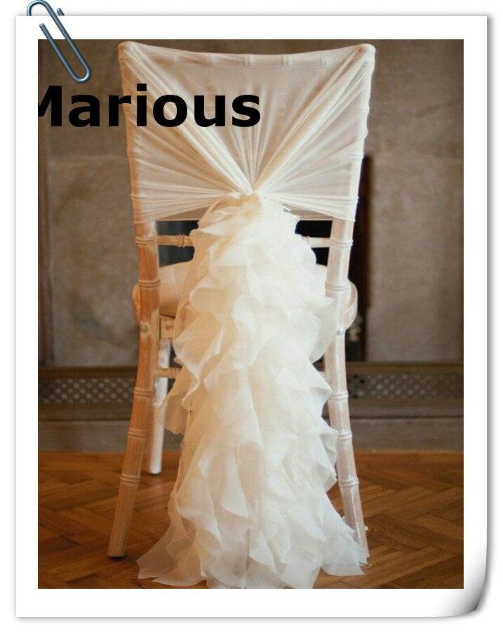 Marious 50 PCS Pink Chiffon Chair Sash Ruffled Chair HOOD 60*150 & Chair Sash Many colors FREE SHIPPING FACTORY PRICE