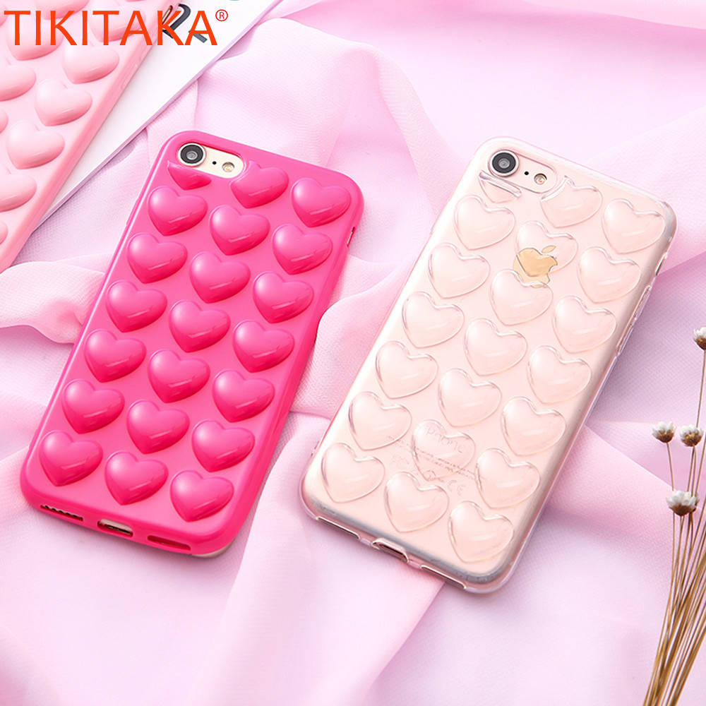 TIKITAKA Heart Case For iPhone 7 Case Pop Soft TPU Back Cover 3D Sweet Lady Love Heart Phone Case For iPhone 7 Plus With Lanyard