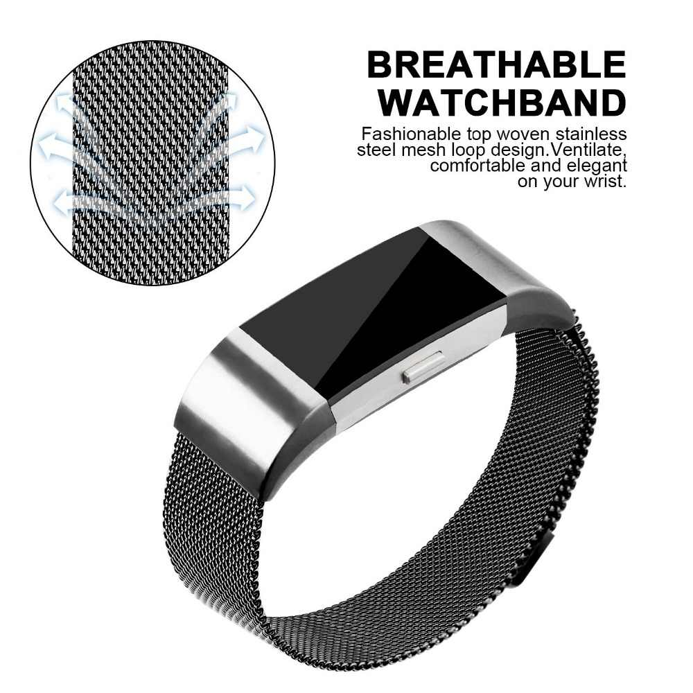 AWINNER for Fitbit Charge 2 Bands Magnetic Stainless Steel Replacement  Strap Bandje for Fit Bit Charge2 Fitness Wristband