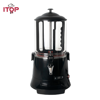 ITOP 10L Hot Chocolate Coffee Dispenser Machine ,Baine Marie Milk Tea Hot Drink Dispenser Warm Chocolate Cooker hot sale commercial mini kitchen appliance table counter top 5 liter chocolate melting machine for drink dispenser