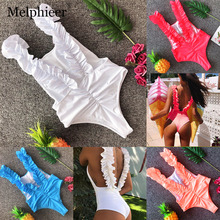Sexy One Piece Swimsuit Women Bathing Suit Bikini 3D Floral Scrunch Butt Swimwear Swimming For Monokini YB