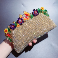 DAIWEI NEW FASHION Women's Flower / Crystals Evening Bag Alloy Floral Print Gold Diamonds Clutch Bag Purse For Wedding Party
