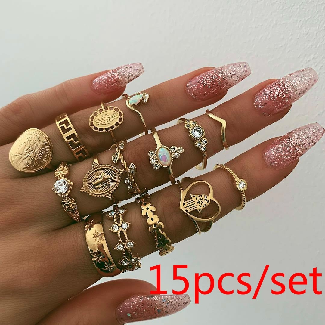 FEECOLOR 15pcs set Retro Beauty Avatar Gold Coin Cross Ring Set Pattern Love Fatima Palm Ring Ring Set for Women in Rings from Jewelry Accessories