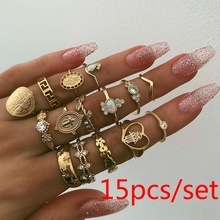 FEECOLOR 15pcs/set Retro Beauty Avatar Gold Coin Cross Ring Set Pattern Love Fatima Palm for Women