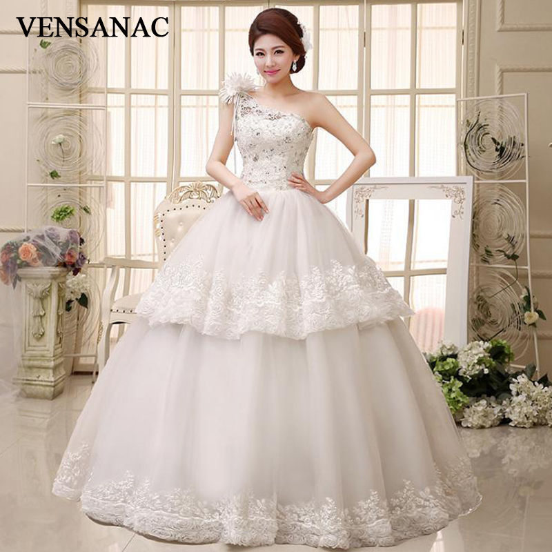 VENSANAC Flowers One Shoulder Tiered Lace Appliques Ball Gown Wedding Dresses 2018 Crystal Backless Bridal Gowns