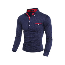 Polka Dot Turn-down Collar Polo Shirts Comfortable Cutton Sportswear Tops Tees Slim Fit Long Sleeve 2015 High Quality Men Shirts