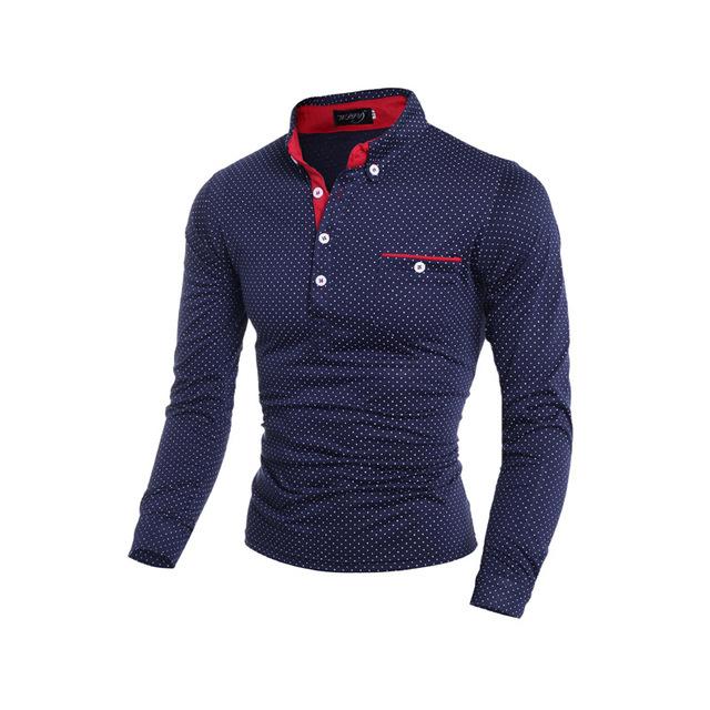 Polka Dot da vuelta abajo camisas de Polo Cutton cómoda ropa deportiva remata camisetas Slim Fit de manga larga 2015 de la alta calidad de los