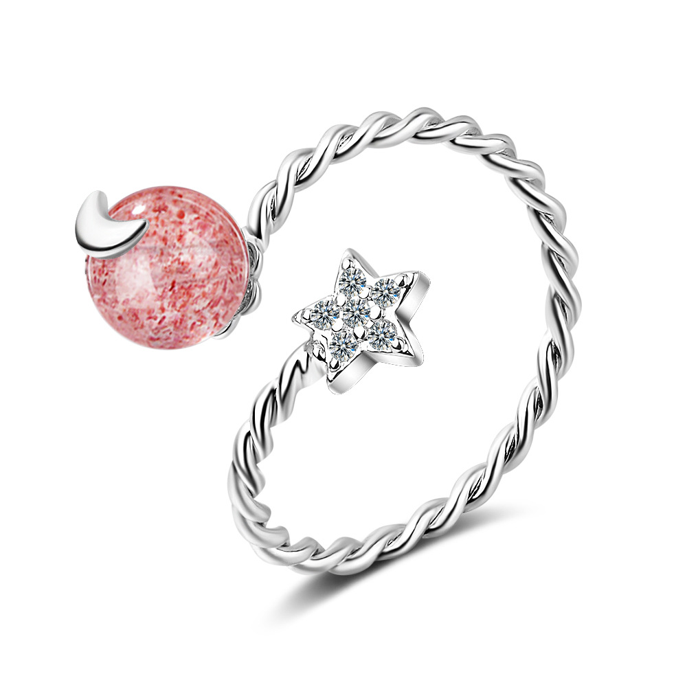100 925 sterling silver fashion moon star rhinestone women wedding ring ladies party rings no fade drop shipping cheap girls in Rings from Jewelry Accessories