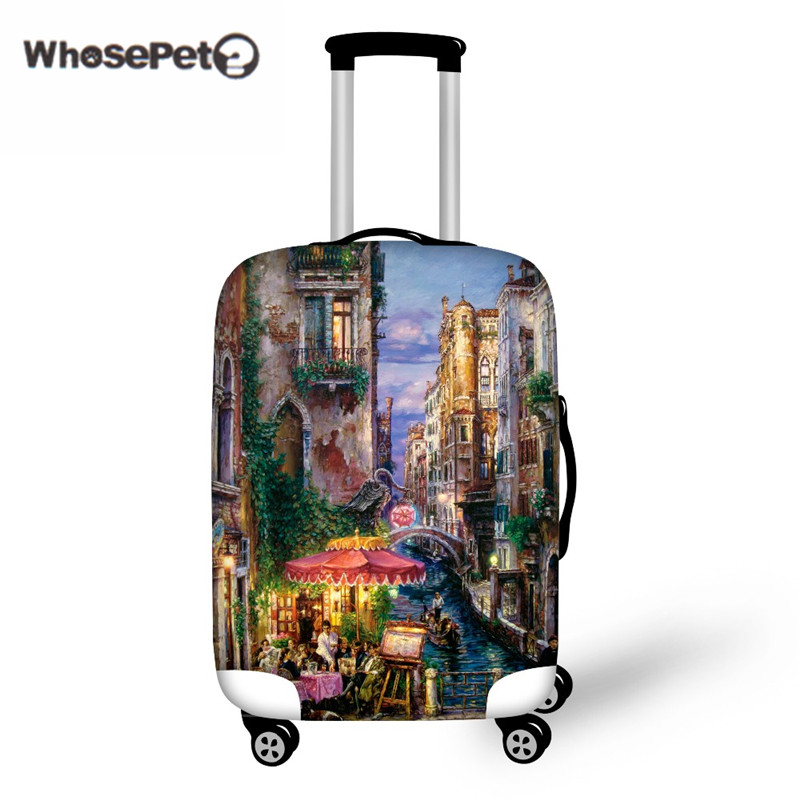 WHOSEPET Lukisan Landskap Travel Luggage Cover proof-proof Bag Elastic Stretch Protect Cover to 18 '' - 30 '' Trunk for Women