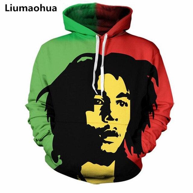 Liumaohua 2018 new reggae star Bob Marley printed casual hoodie pullover fashion hoodie male / ladies sweatshirt 3d