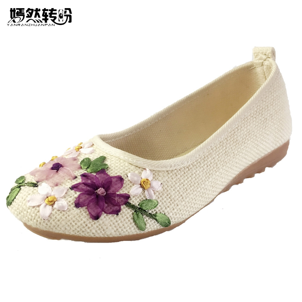 Vintage Broderte Women Flats Blomst Slip On Cotton Fabric Linen Komfortabel Old Peking Ballerina Flat Sko Sapato Feminino