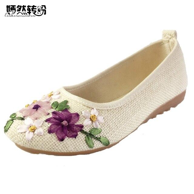 Vintage Ricamato Donne Appartamenti Fiore Scivolare Su Tessuto di Cotone di Lino Confortevole Vecchio Pechino Ballerina Scarpe Sapato Feminino