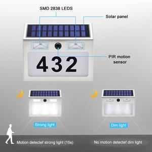 Image 4 - 5 LED חיצוני Doorplate שמש מנורת Waterproof בית מספר LED שמש אור Montion חיישן Plaue אור לבית גן דלת