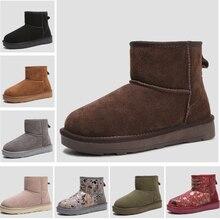Новые зимние женские сапоги 2017 зимняя женская обувь Ботинки телячья кожа плюш Теплые женские короткие сапоги женские Обувь зимняя обувь черный/абрикосовый