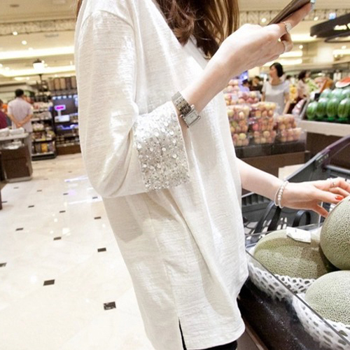 Plus Size 2017 Spring Women   Shirts   Loose Paragraph Bamboo Grows In Sequined Cuffs Cotton   Blouse     Shirt   White 2514