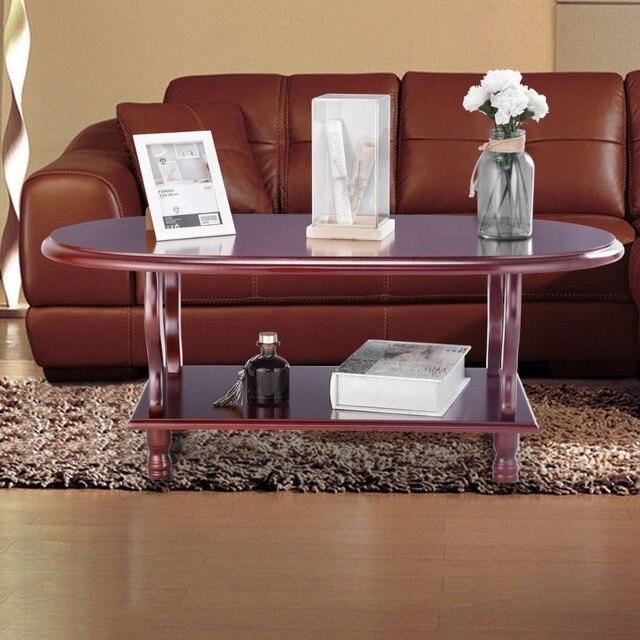 Giantex Coffee Oval Table Classic 2 Tier Design Lower Shelf End