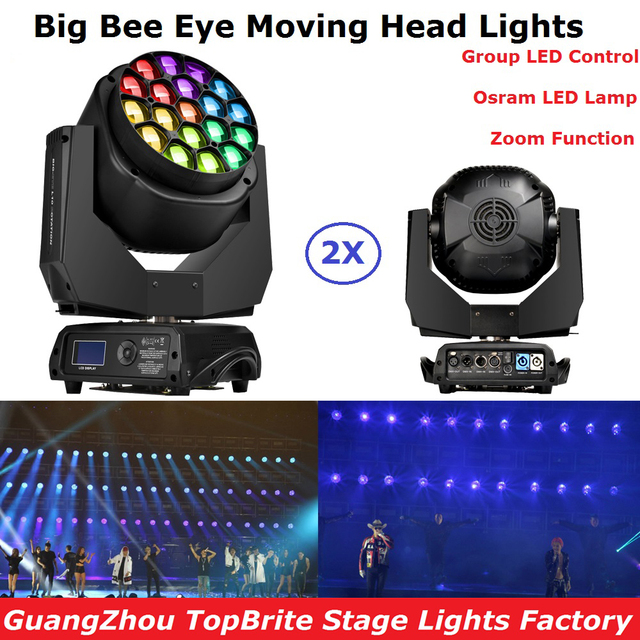 2Pack In Flightcase 19X15W RGBW 4IN1 Big Bee Eye Moving Head Zoom Light Professional Stage Moving Head Washer Lights LCD Display