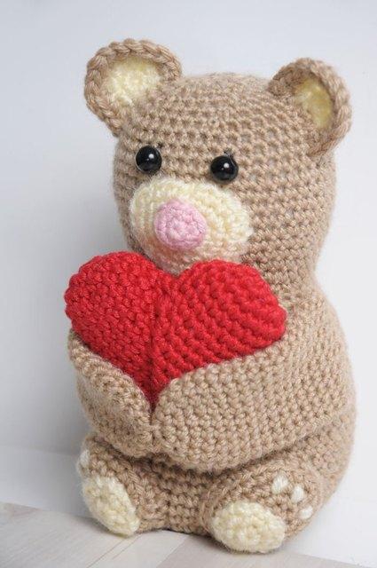 Cute Crochet Animal Amigurumi Bear Toy Doll Rattle In Baby Rattles