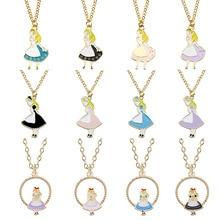 Alice in Wonderland Sweet Girl Necklace Cartoon Fairy Princess Humanoid Metal Pendant Fashion Female Glamour Jewelry