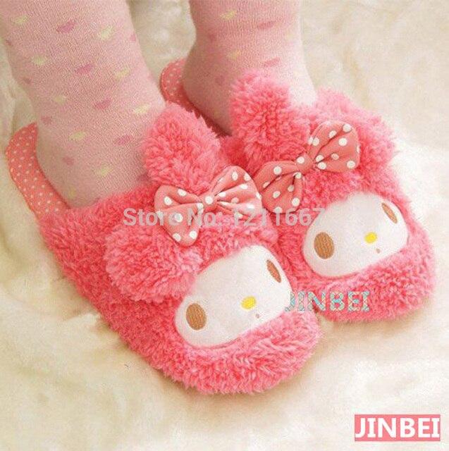 Бесплатная Доставка Kawaii Плюшевые Розовый Сентиментальный Кролик (Свободный Размер) Теплые Тапочки, Тапочки Зимы, Домашние Тапочки Рождество подарок