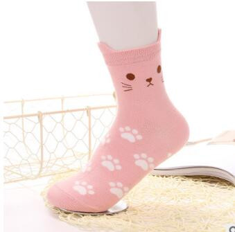 1pair/lot free shipping Japanese style female footprint cotton socks lady cartoon cat casual socks colors free size