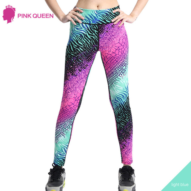 PINK QUEEN Europe And United States New High Waist Gradient Color Sporting Leggings Women Stretch Leggins Spandex Pants Unisex
