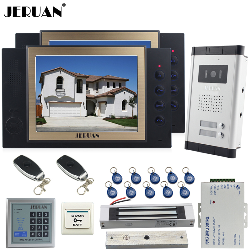 JERUAN Apartment 8 inch LCD Video Door Phone Record Intercom System kit 700TVL Camera RFID Access Control 180KG Magnetic lock jeruan apartment 4 3 video door phone intercom system kit 2 monitor hd camera rfid entry access control 2 remote control