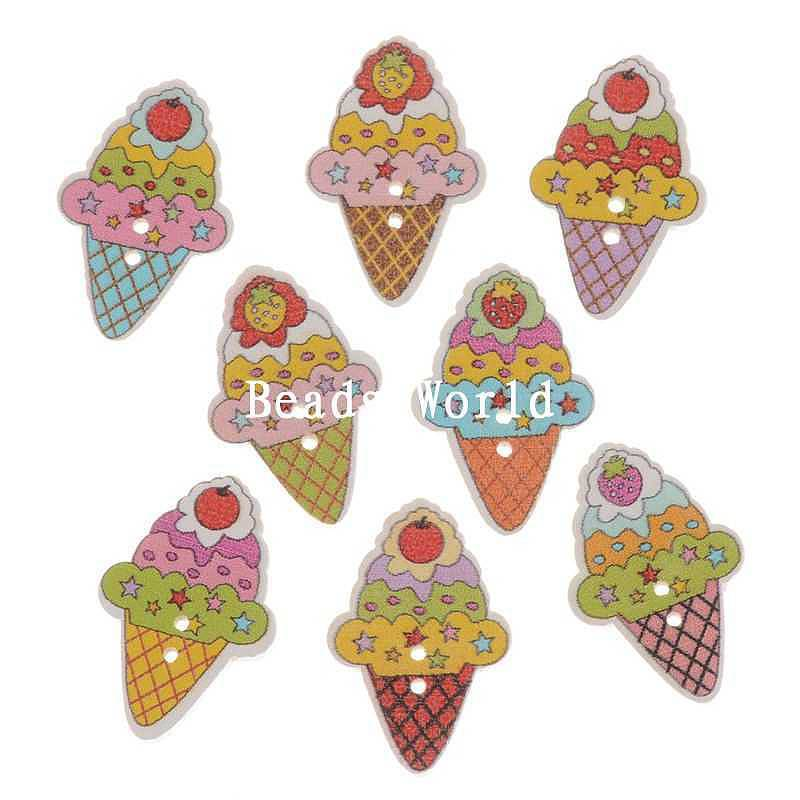 New Real Wooden Buttons 100 Pcs Wood Sewing Buttons Scrapbooking Mixed Icecream Pattern 27x18mm Jewelry Diy (w05842 X 1)