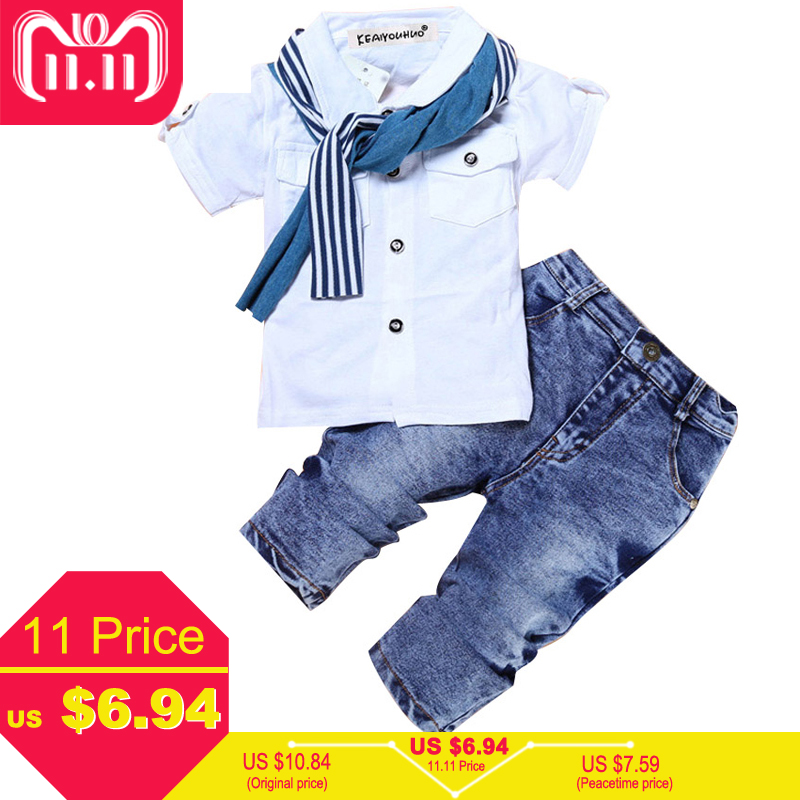 Boys Clothes Summer Children Clothing Sets Costumes For Kids Clothes Set Toddler T-shirt+Jeans Sport Suits Wear 2 3 4 5 6 7 Year jocelyn katrina 2017 boys clothing sets summer boys clothes children clothing t shirt shorts kids clothes boy sport suits