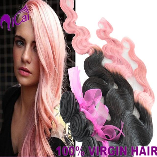 Popular Ombre 2 Tone 1bpink Hair Weave Brazilian Virgin Remy Human