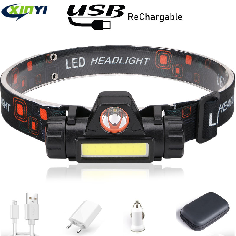 6000LM Waterproof LED Headlamp COB Work Light 2 Modes With Magnet Headlight Built-in 18650 Battery Suit For Fishing, Camping