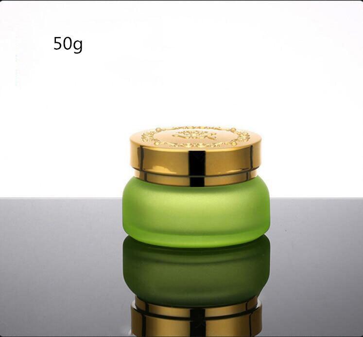 Skin Toner Suit Empty Bottle Silver Gold Carved lid Green Emulsion Bottle Glass Cream Lotion Pump 30ml 50ml 120ml 30g 50g (13)