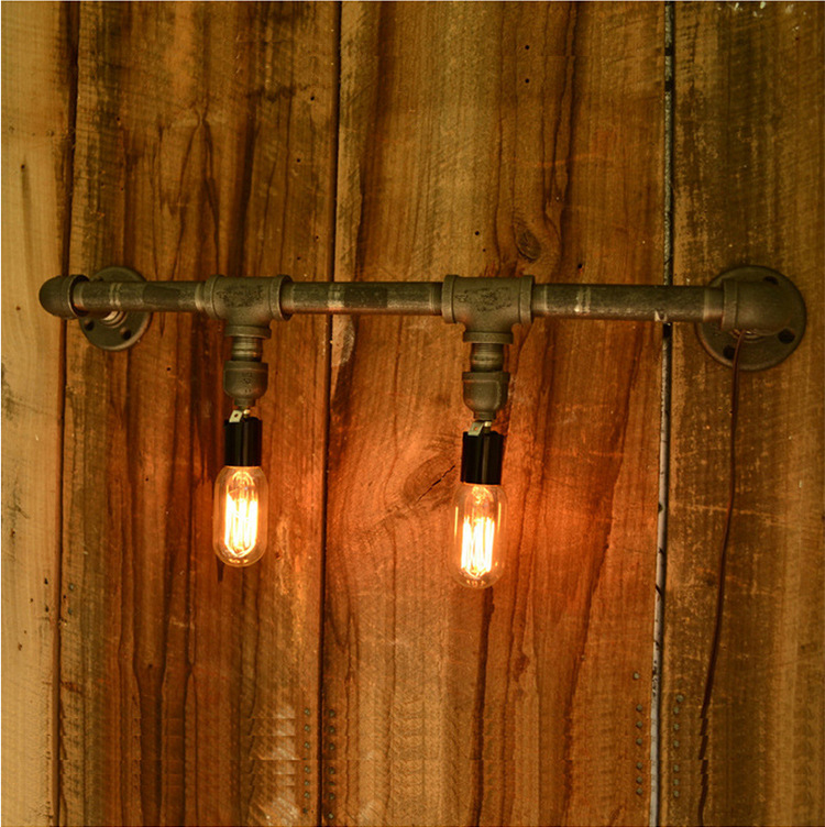 Wall Lamps Edison Vintage Water Pipe Loft Industrial Wall Lamp ...