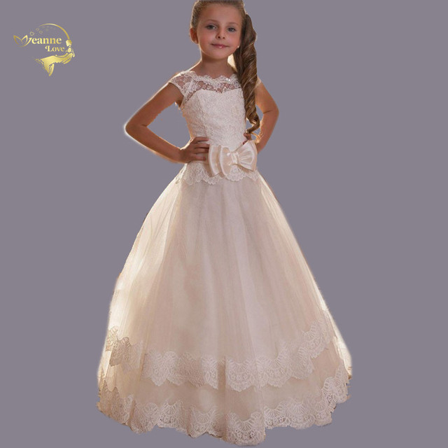 vestido longo Vintage Princess Dresses Butterfly Bow Flower Girl Dresses First Communion Dresses for Girls Kids Evening Gowns