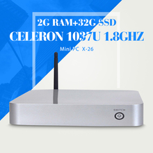 Мини-пк X-26 C1037U 2 г оперативной памяти 32 г SSD тонкий клиент Wifi настольных компьютеров выиграть 7 XP систему мини-пк