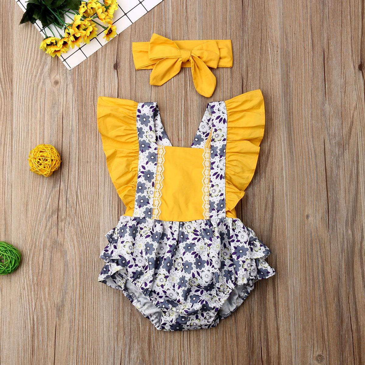 Pudcoco Newborn Baby Girl Clothes Fly Sleeve Ruffle Flower Print Romper Jumpsuit Headband 2Pcs Outfits Summer Clothes