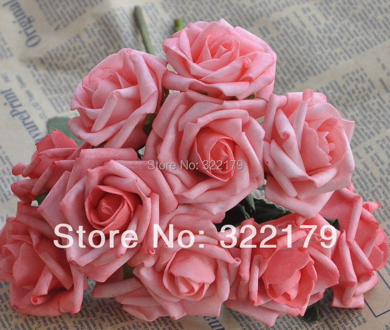 2015 new 100 pcslot coral artificial flowers coral wedding flowers foam roses table centerpiece