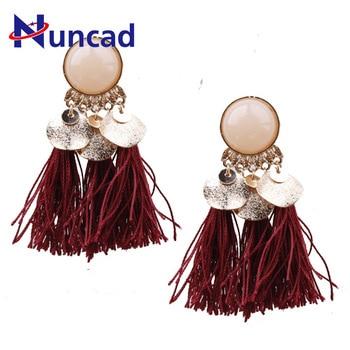 Classic Geometric Bohemia Earrings Multicolor Earring Trendy Jewelry Alloy Resin Tassel Earrings For Women Girls Jewelry
