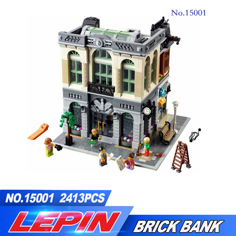 DHL LEPIN 15001 Brick Bank 2413PCS Model Building Kits Blocks Bricks Kits Toy Compatible With 10251 legoed Toys for children lepin 21004 ferrarie f40 sports car model legoing building blocks kits bricks toys compatible with 10248