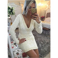 Short Lace Cocktail Dresses Long Sleeve Deep V Neck Pearls Backless Sheath Mini Prom Gowns 2016 Custom Size vestidos de fiesta