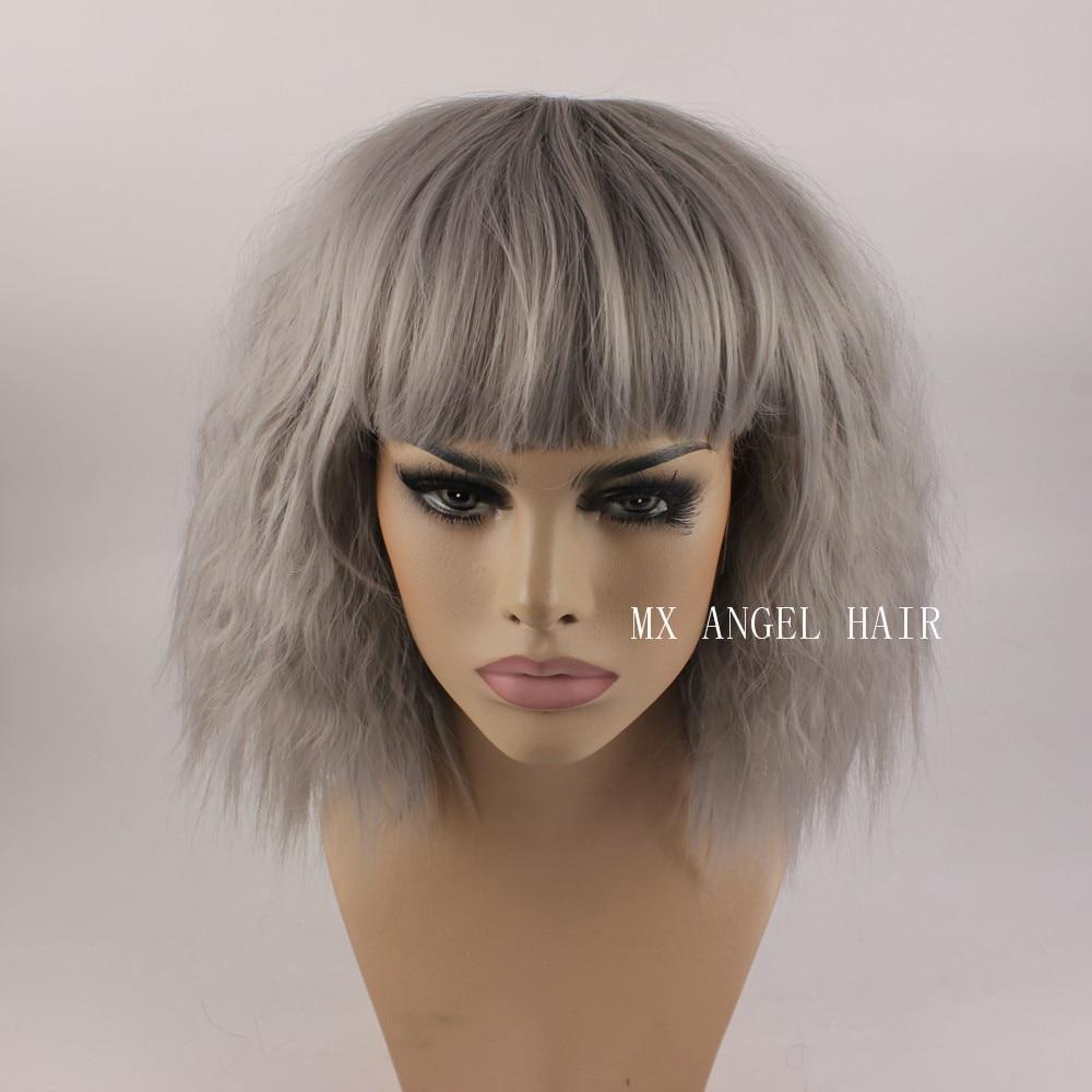 KA Beautiful Curly Medium Long Grey Synthetic No Lace Hair Wigs Heat Resistant Heavy Density Women Neat Bang