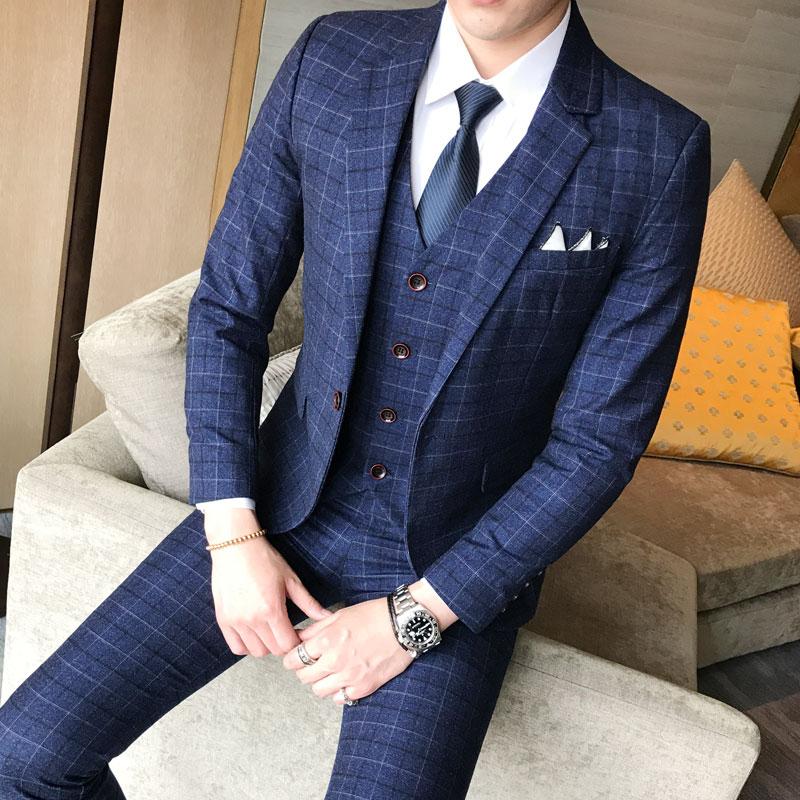 (Blazer + gilet + pantalon) 2019 nouveaux hommes de mode Boutique Plaid robe de mariée costume trois pièces mâle formel affaires costumes décontractés