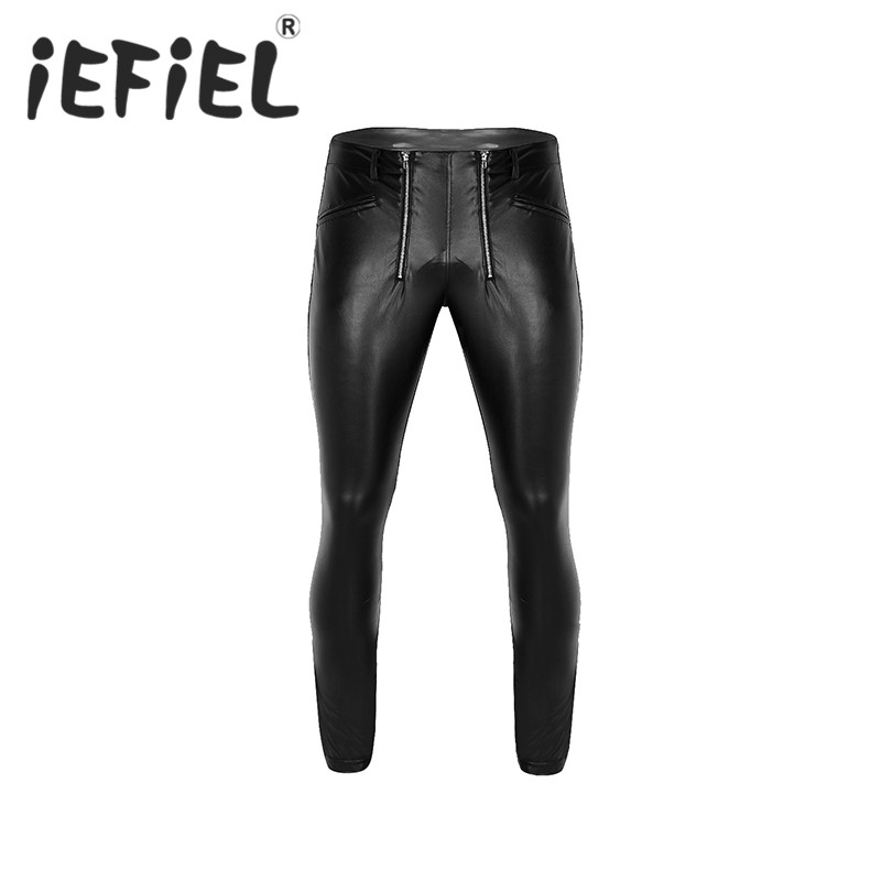 New Arrival Black Mens Soft Faux Leather Tight Pants Stretchy Full Length Legging Trousers Nightwear Pants with Zipper Pouch