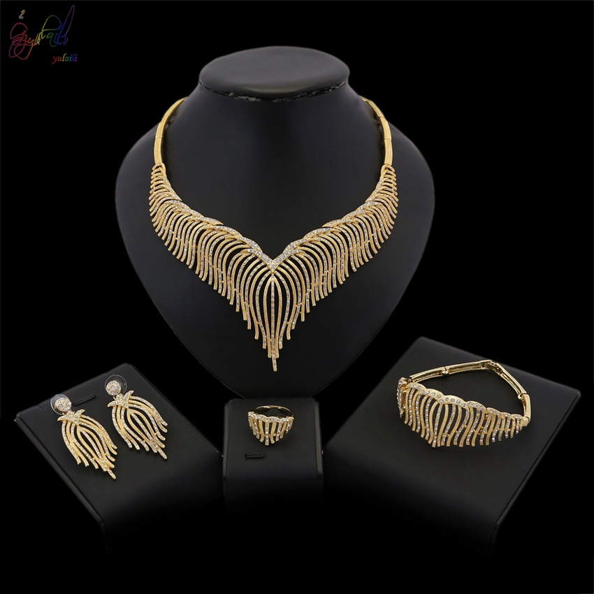 YULAILI Pure Gold Color Fashion Jewelry Sets African Big Women Necklace Bracelet Earrings Ring Wedding Accessories кольцо голубой топаз beatrici lux кольцо голубой топаз